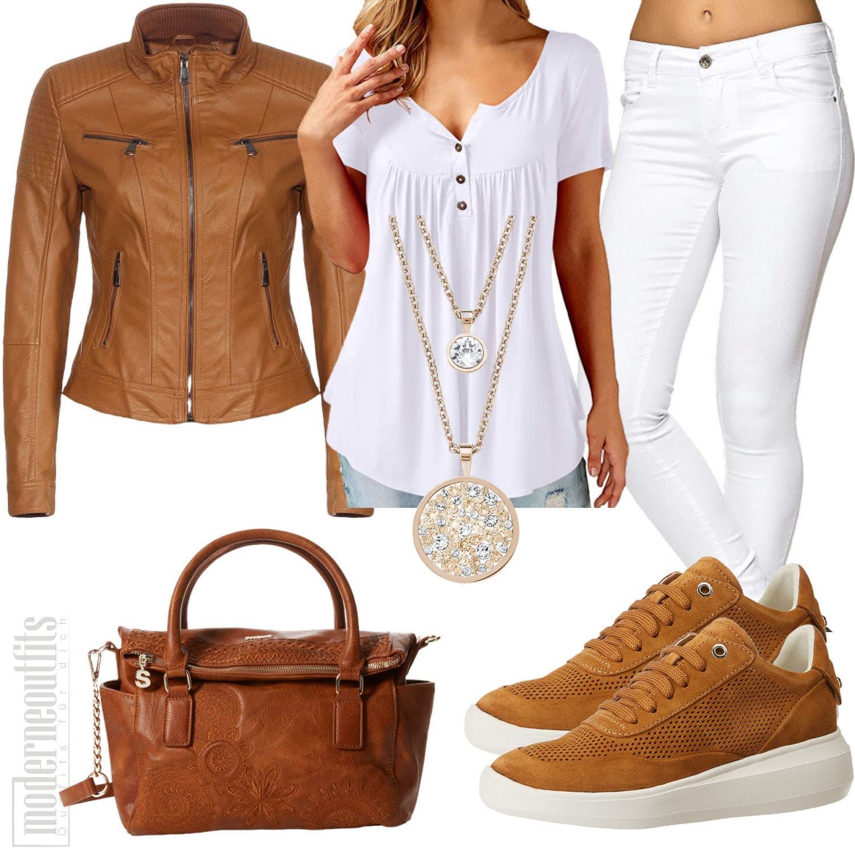 Braun Weisses Damenoutfit mit Lederjacke, Shirt und Tasche