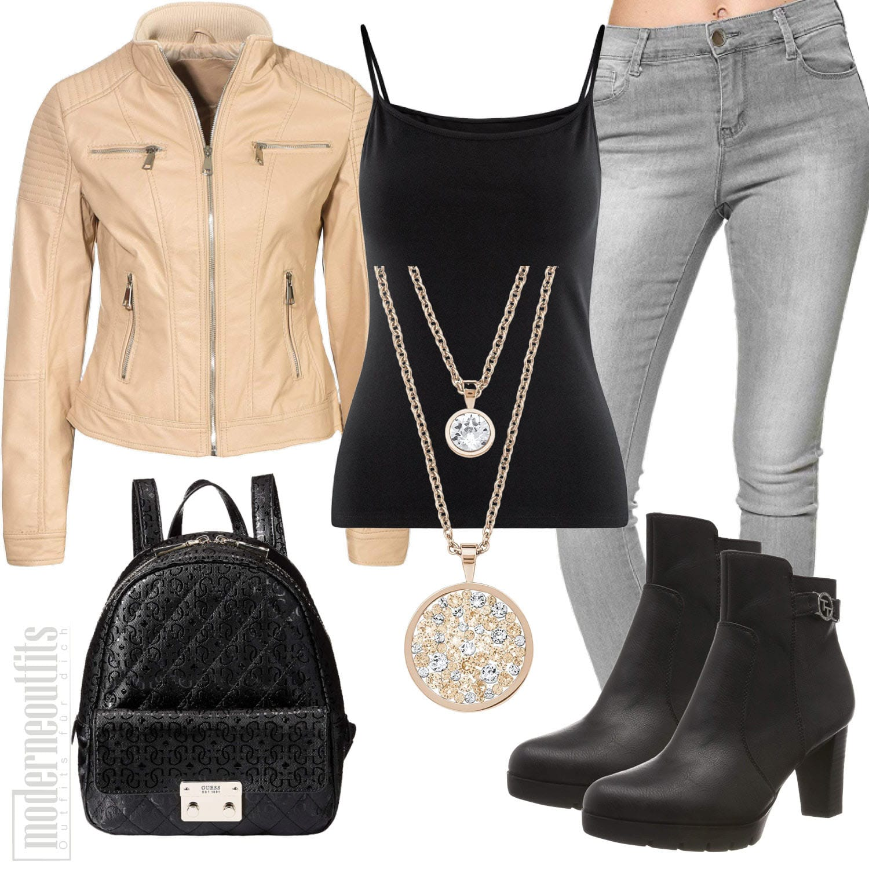 Beige Schwarzes Damenoutfit mit Lederjacke, Top und Jeans