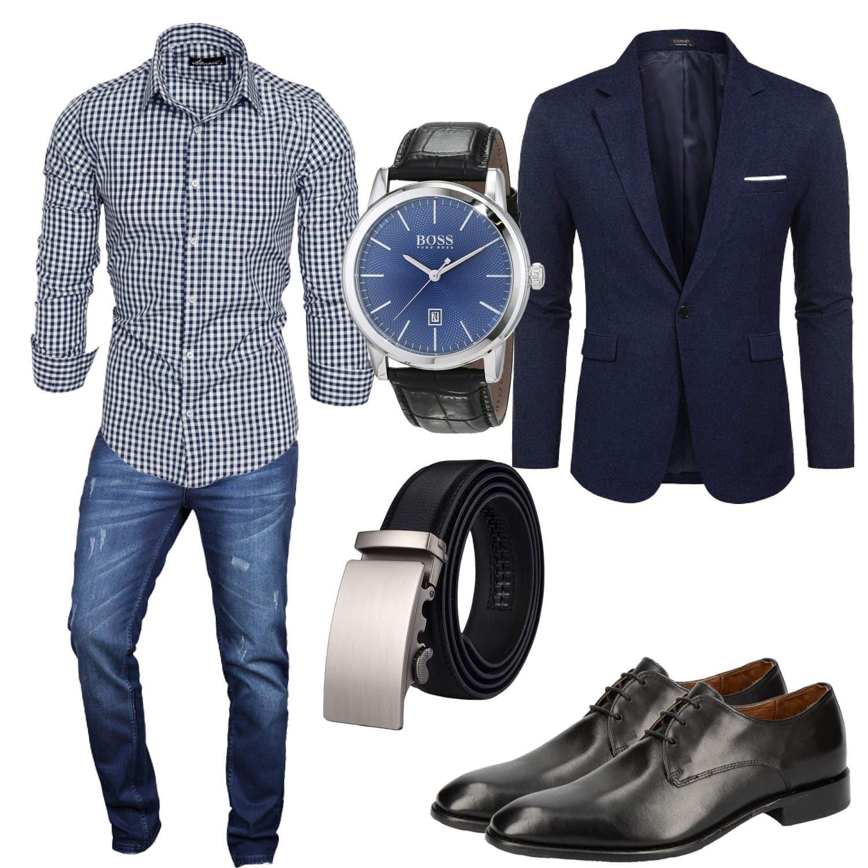 Business-Style Blau Kariert Mann mit Hemd, Sakko, Uhr