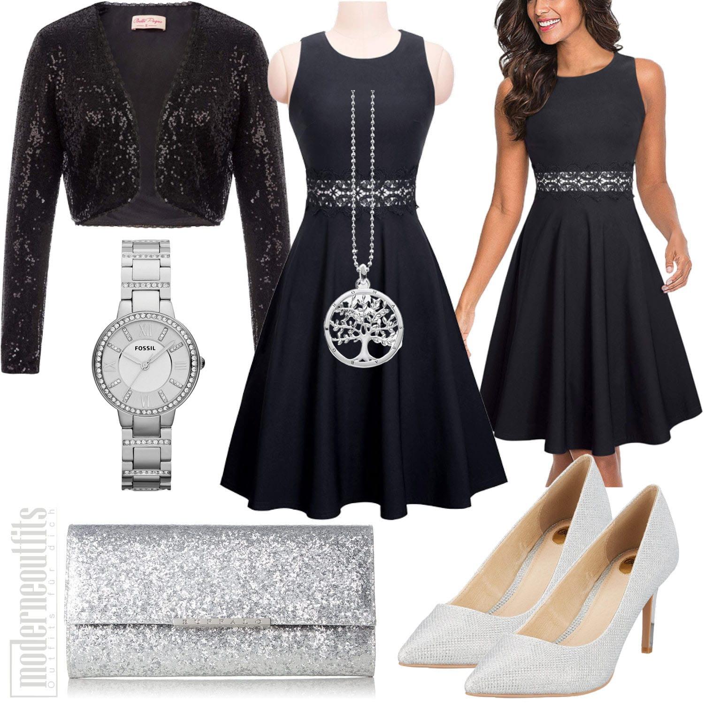 Sommer Damenoutfit mit schwarzem Kleid und Pailletten Bolero
