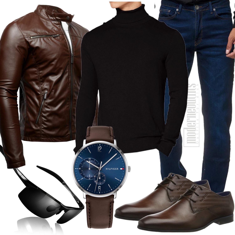 Schwarz Braunes Herrenoutfit mit Lederjacke und Uhr