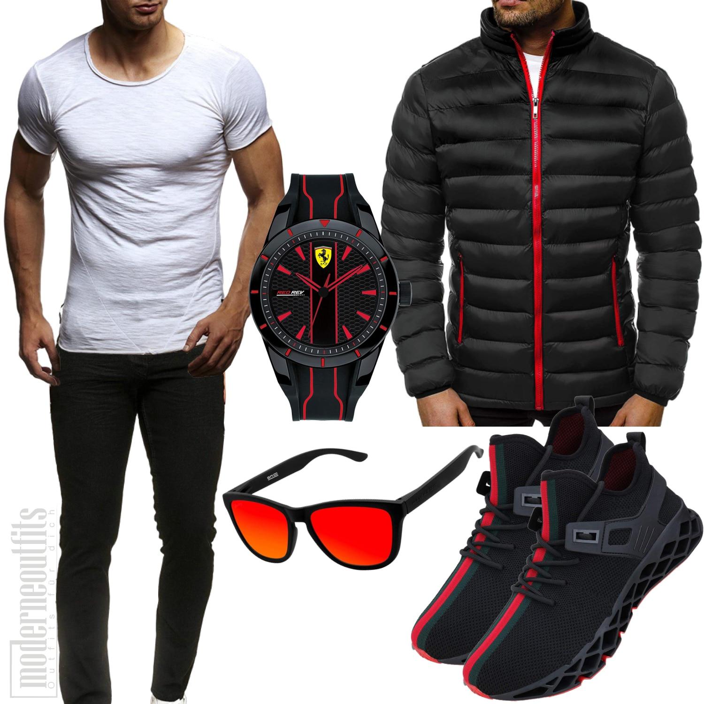 Schwarz-Rotes Männeroutfit mit Shirt, Jacke und Uhr