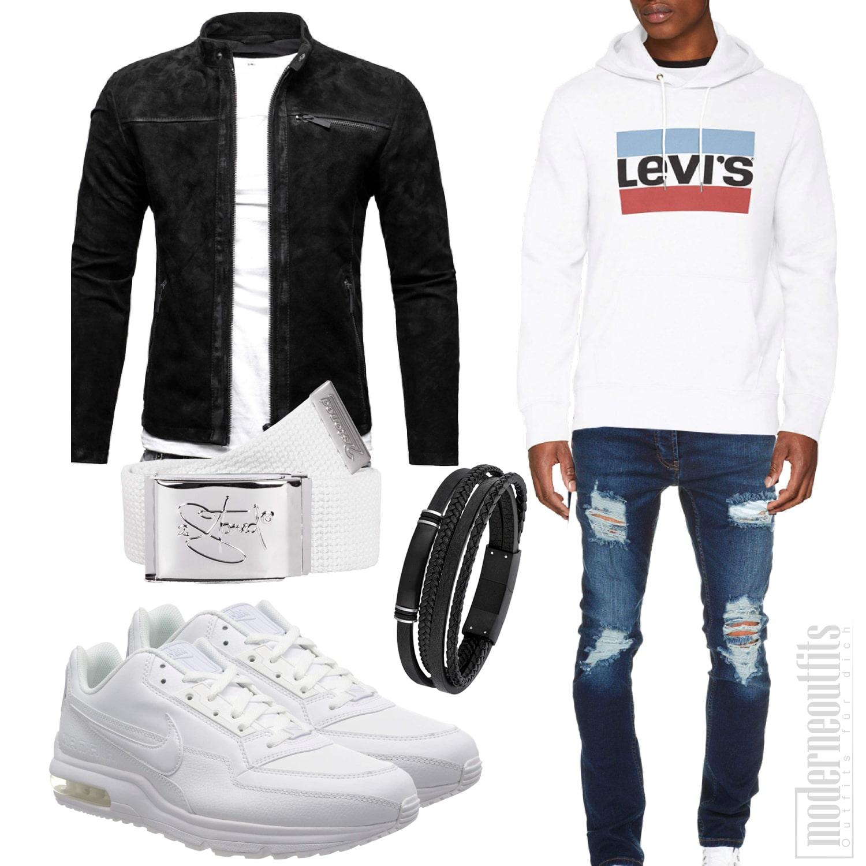 Schwarz Weisses Herrenoutfit mit Lederjacke Jeans und Armband