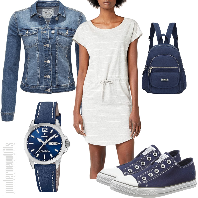 Blau Graues Frauenoutfit mit Kleid, Sneakers und Uhr