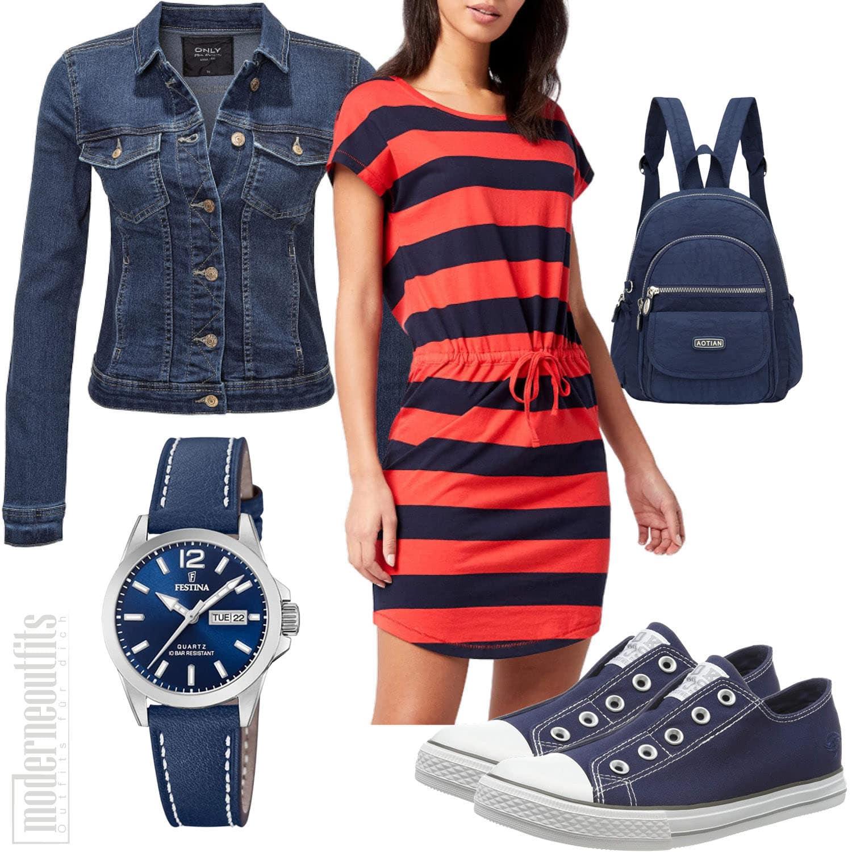 Blau Rotes Frauenoutfit mit Kleid, Sneakern und Uhr