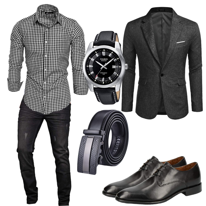Business Herren Outfit elegant mit Hemd, Sakko und Jeans