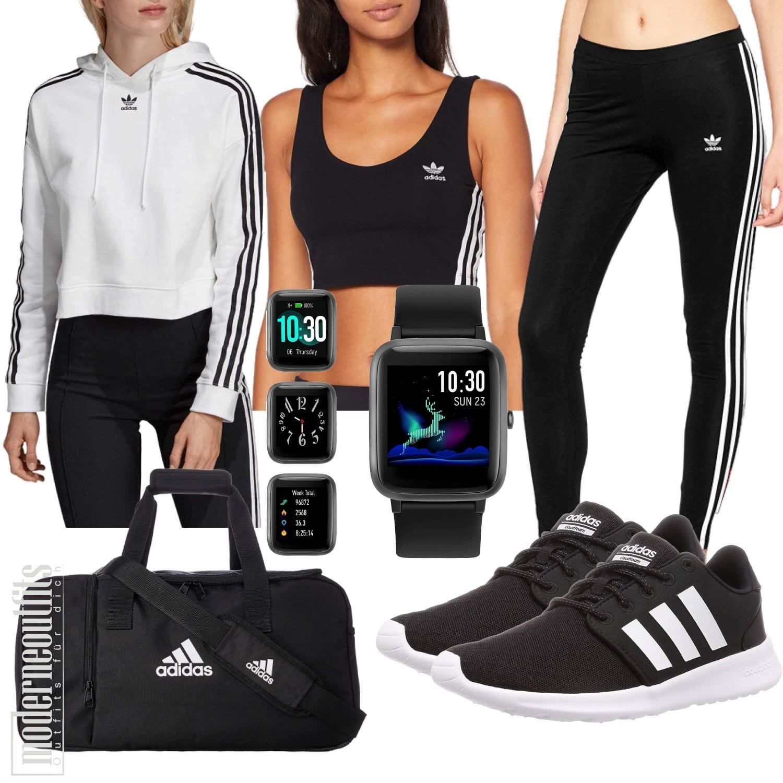 Sportoutfit für Frauen mit Tanktop, Leggings, Sweatshirt und Smartwatch