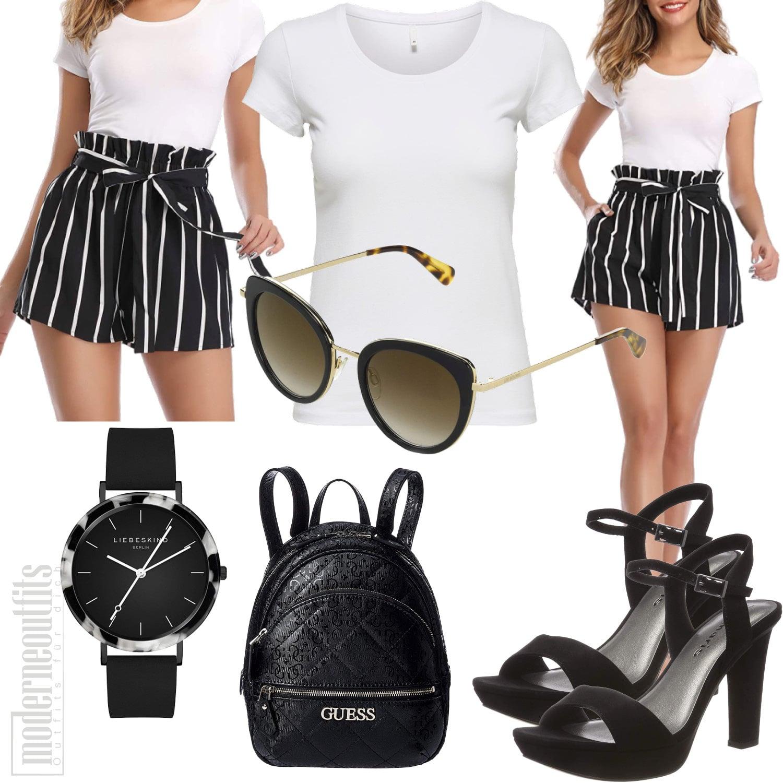 Sommeroutfit Frauen mit kurzer Hose, T-Shirt, Sonnenbrille, Sandalen