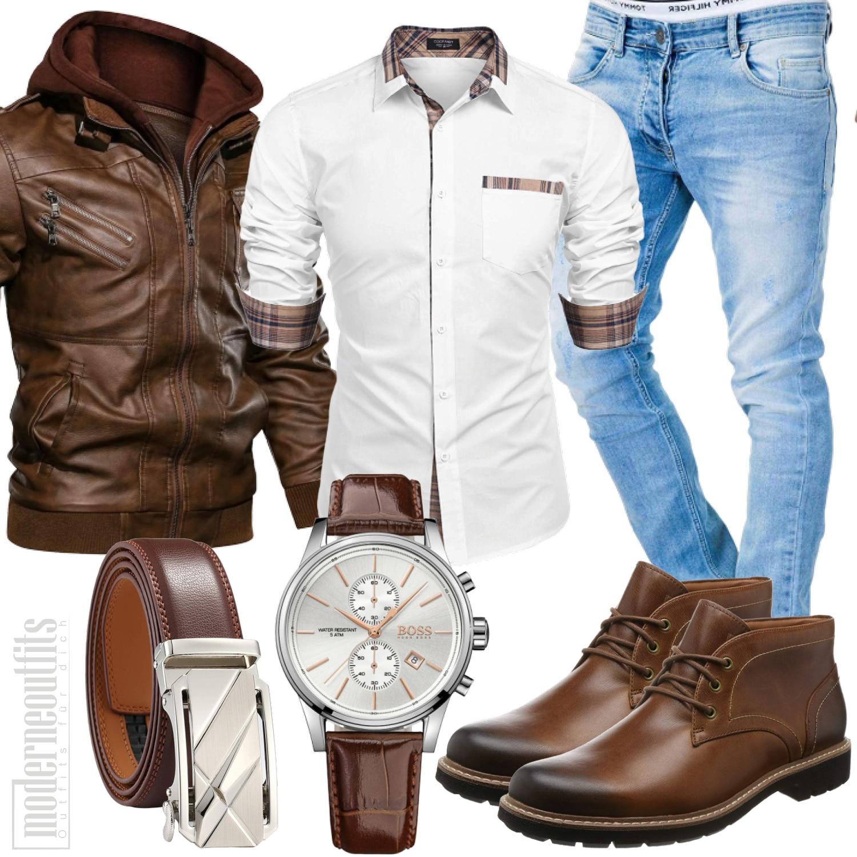 Herrenoutfit mit Hemd, Lederjacke und Boss Uhr