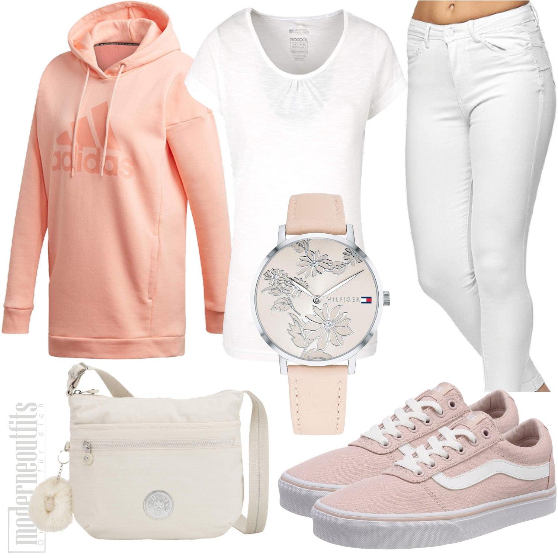Rosa Outfit für Frauen mit T-Shirt, Hoody, Jeans, Tasche und Uhr