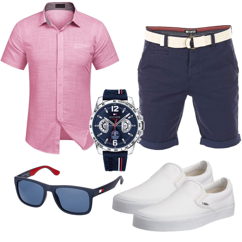 Rose-Blaues Männer Sommeroutfit mit Shirt und Shorts