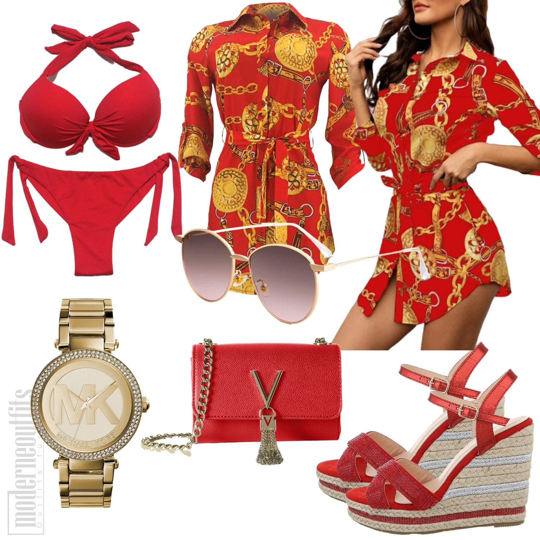 Rotes Blusenkleid Sommeroutfit mit Bikini, Sandalen und Uhr