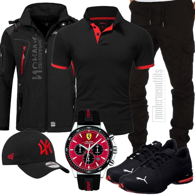Schwarz-Rotes Herrenoutfit mit Shirt und Jogginghose