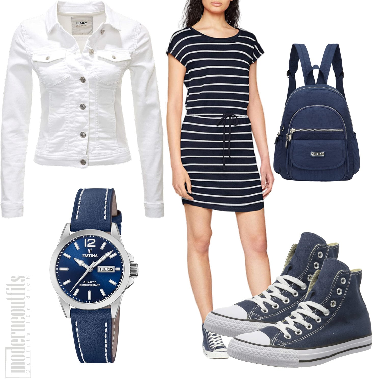 Blau Weisses Sommeroutfit für Frauen mit weisser Jeansjacke, Kleid, Rucksack, Convers