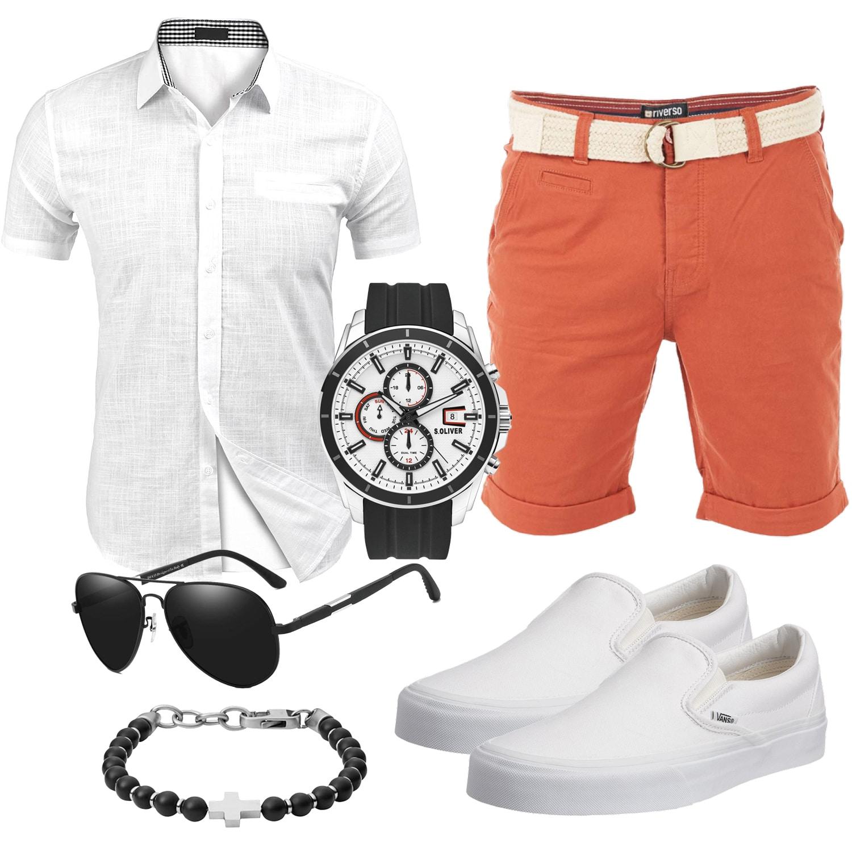 Terracotta-Weißes Sommer Herrenoutfit mit Shirt und Shorts
