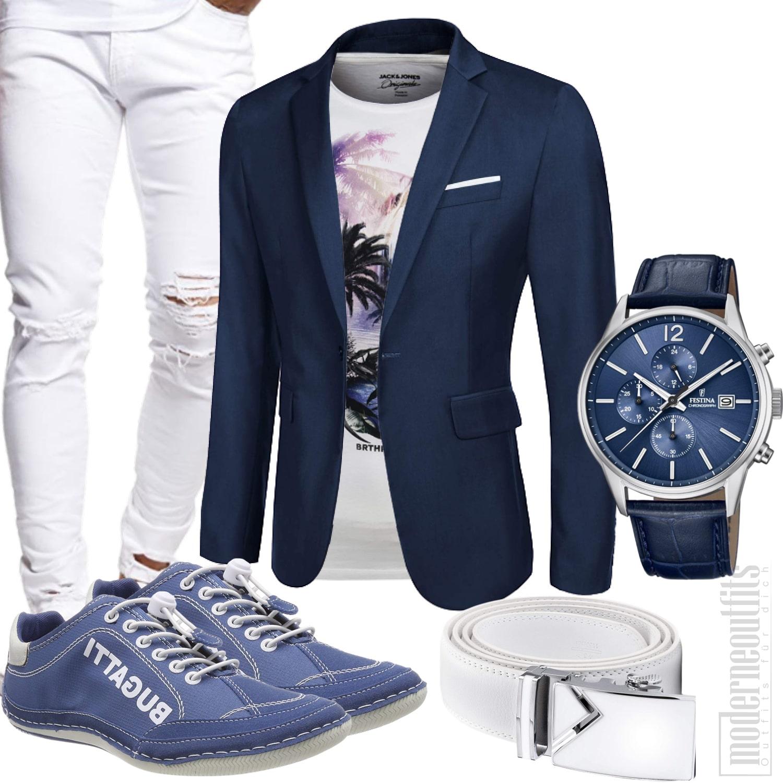 Blau Weißes Sommer Herrenstyle mit Shirt, Sakko, Sneakers