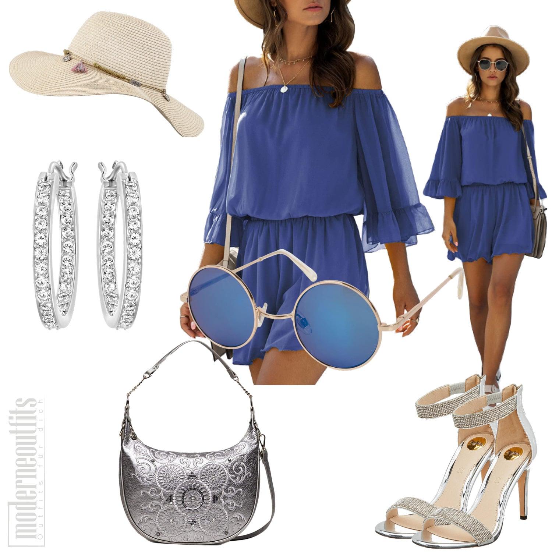 Blaues Sommer Frauenoutfit mit Jumpsuit und Hut