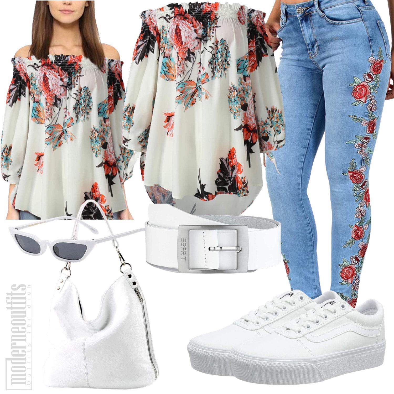 Blusenshirt für Damen mit Jeans, Tasche und Vans
