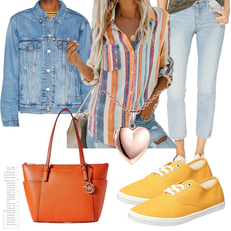 Buntes Frauenoutfit mit Streifenbluse, Jeans und Jeansjacke