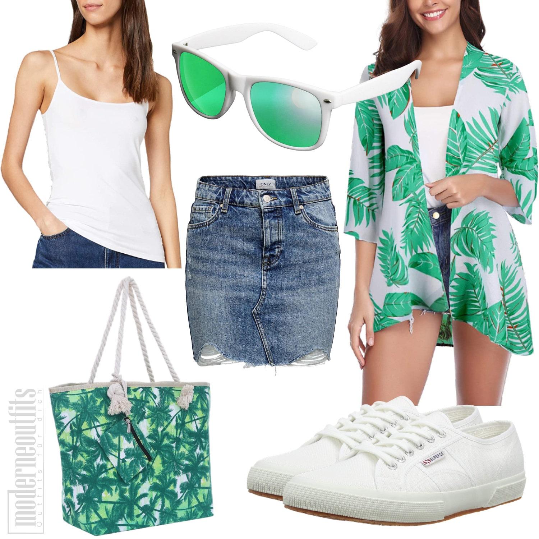 Grünes Sommeroutfit für Frauen mit Cardigan und Jeansrock