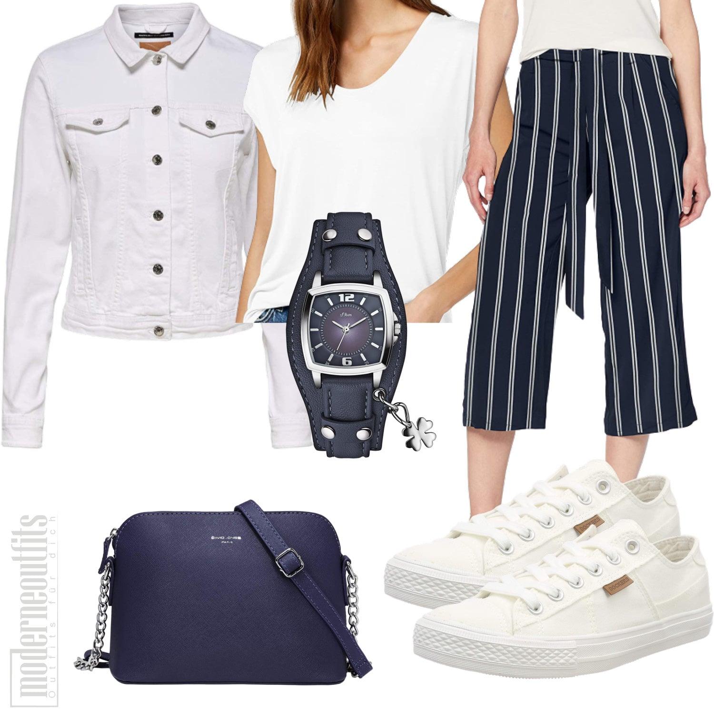 Culotte Frauen Outfit mit Jeansjacke und Sneakers