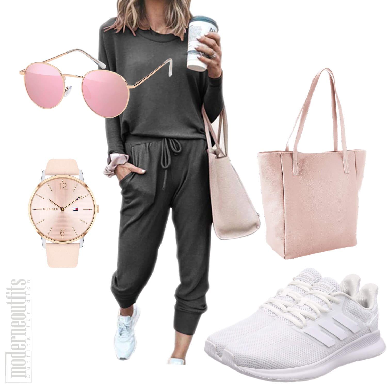 Damen Jogginganzug mit Sneakers und Shopper