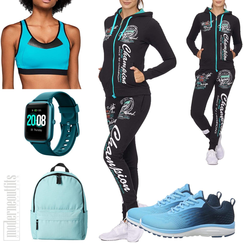 Damen Sportoutfit mit Jogginganzug und Sportuhr