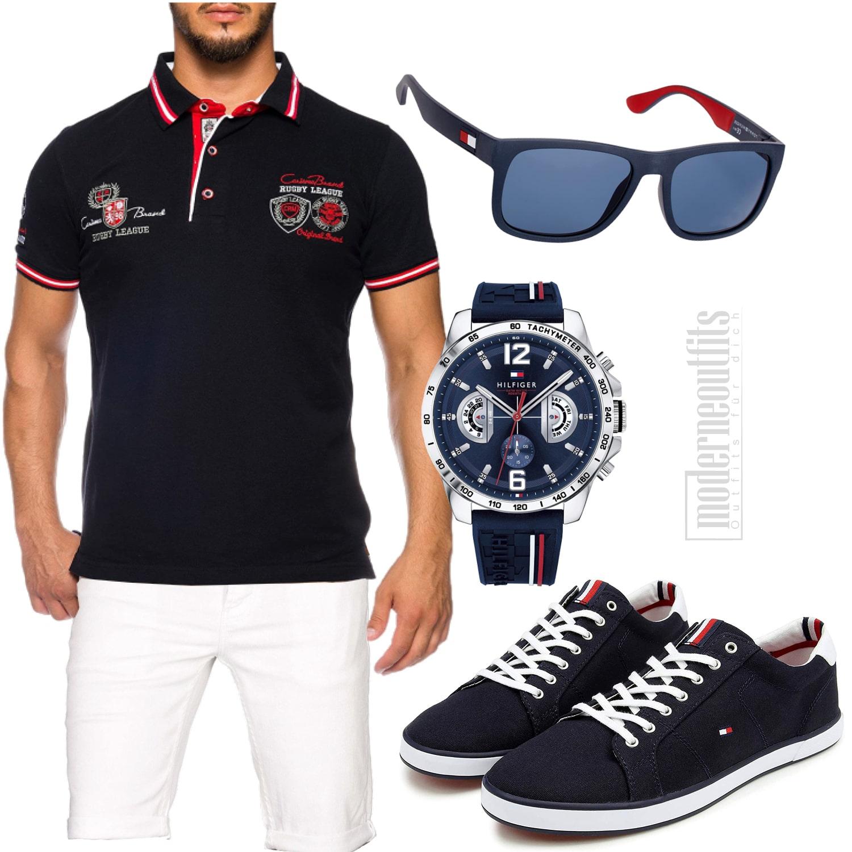 Dunkelblaues-Weißes Herren-Style mit Shirt, Shorts und Sonnenbrille