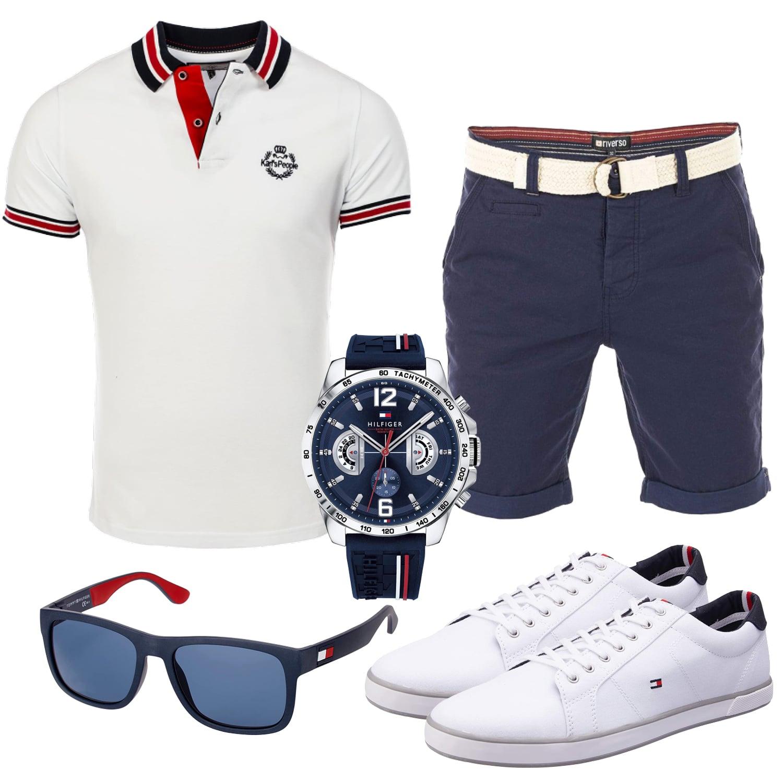 Weiß-Dunkelblaues Männeroutfit mit Poloshirt und Shorts