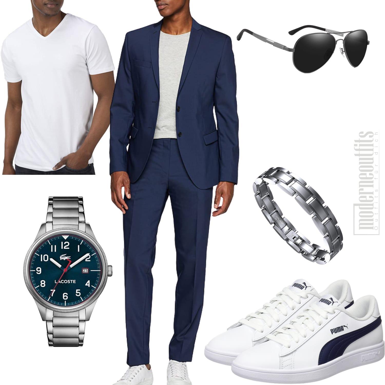 Sommeroutfit für den Mann mit Anzug dunkelblau weiß