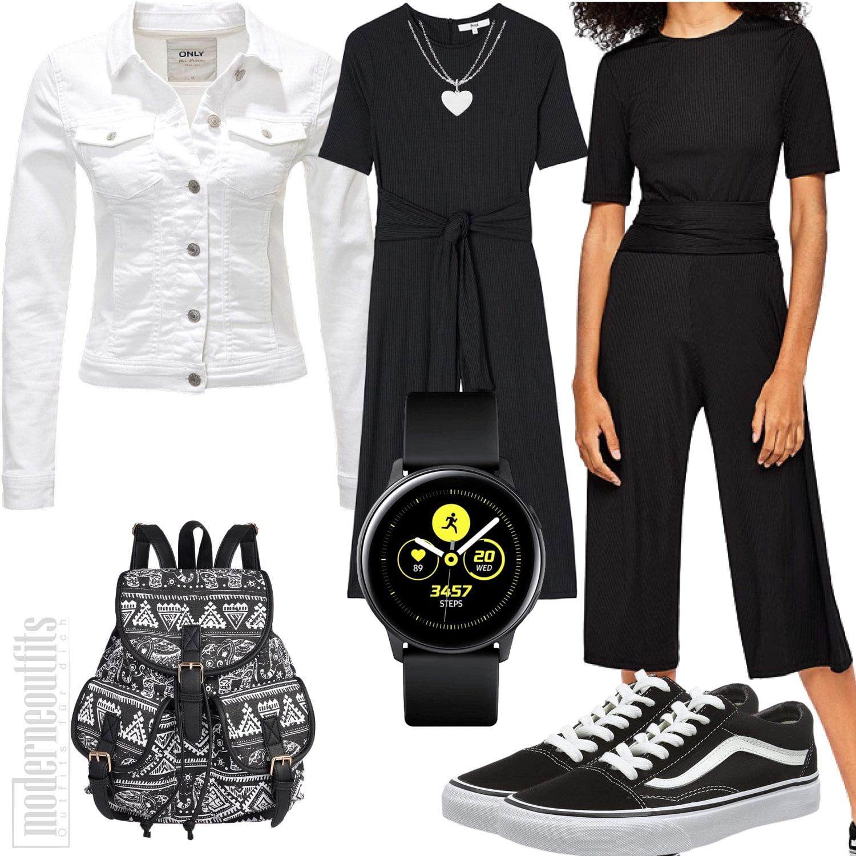 Frauen Outfit in Schwarz mit Jumpsuit, Jeansjacke und Vans
