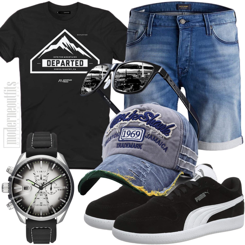 Freizeit Männerstyle Schwarz Weiß für den Sommer und Strand