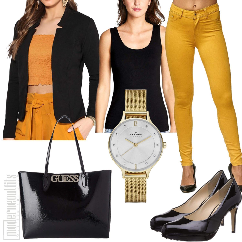 Gelb Schwarzes Damenoutfit mit Blazer und Jeggings