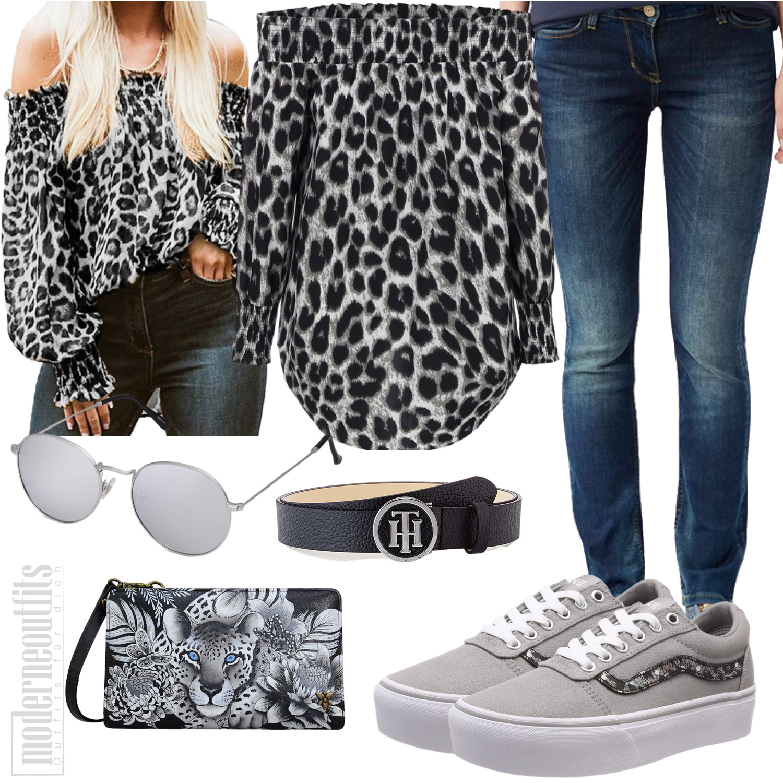Graues Leopardenoutfit für Frauen mit Bluse und Jeans