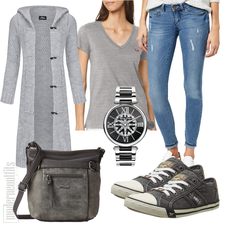 Graues Damenoutfit mit Cardigan und Jeans