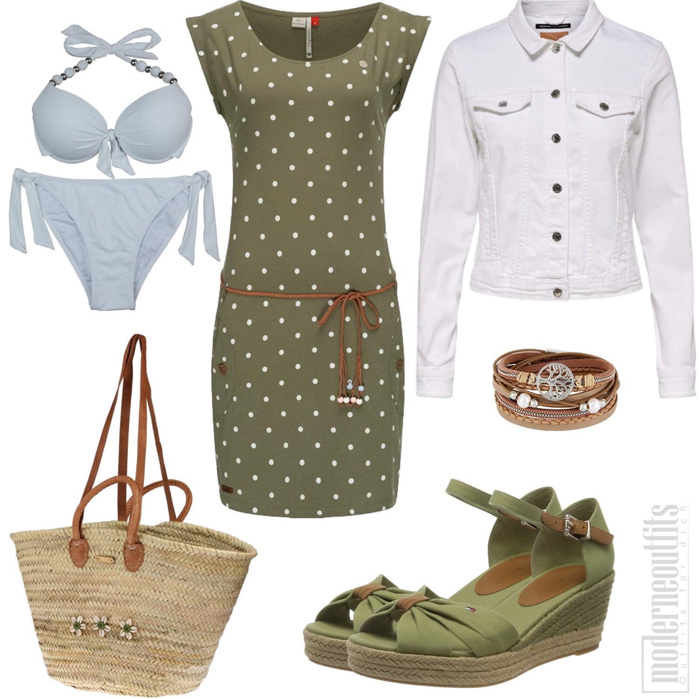 Grünes Sommeroutfit für Frauen mit Kleid und Bikini