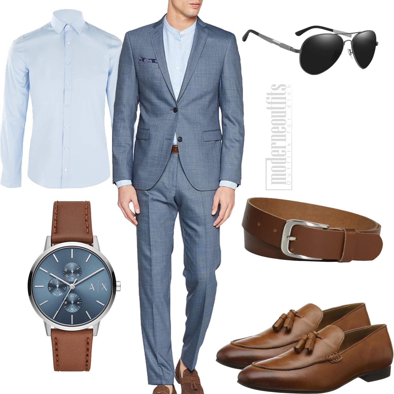 Herren-Sommeroutfit mit Anzug in hellblau und Hemd