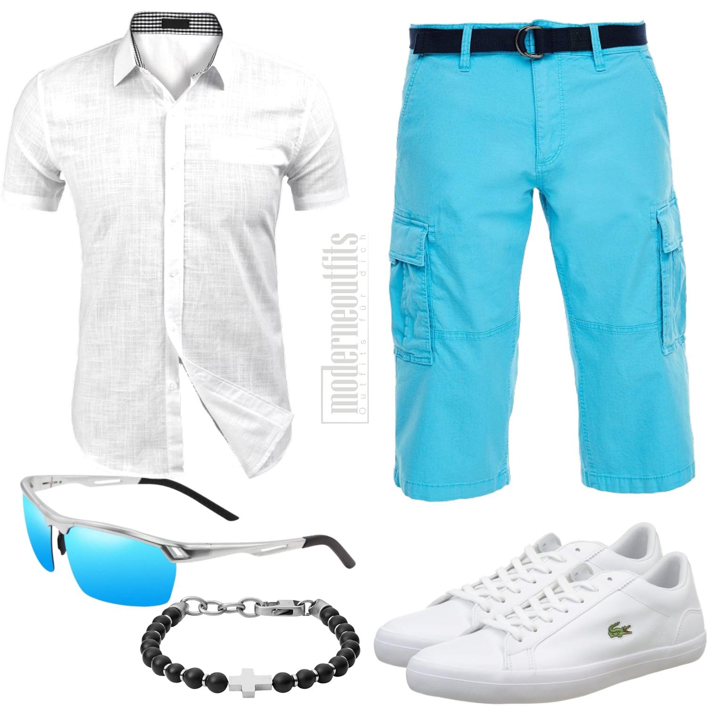 Herren Sommer Outfit Türkis Weiß mit Shorts und Hemd