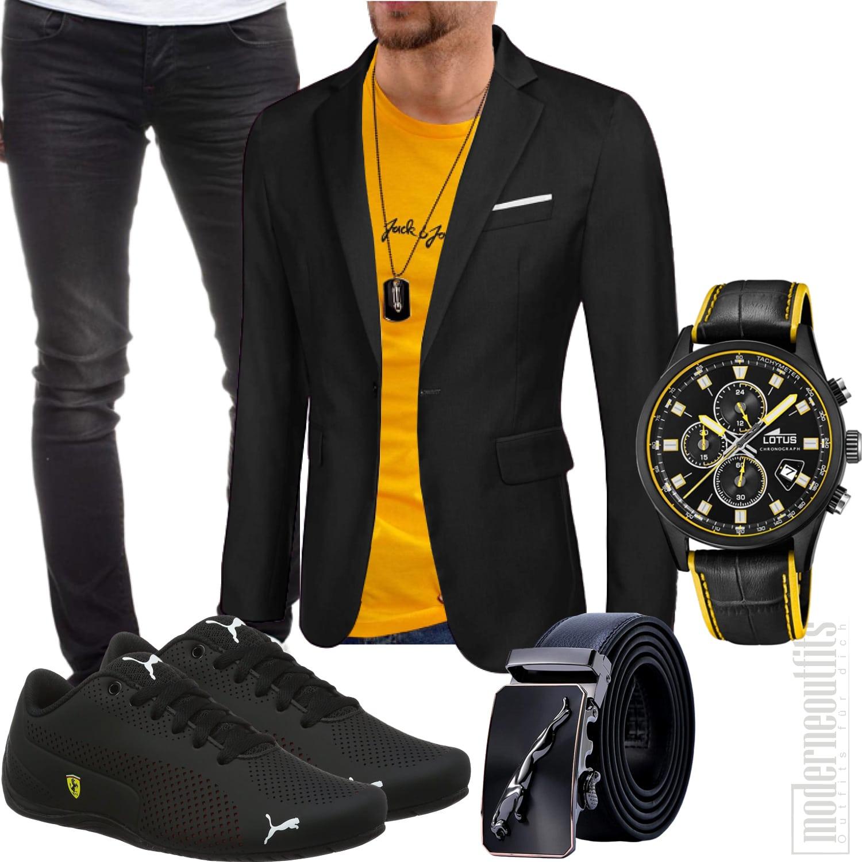 Schwarz Gelbes Herrenstyle mit Sakko, Sneakers, Jeans