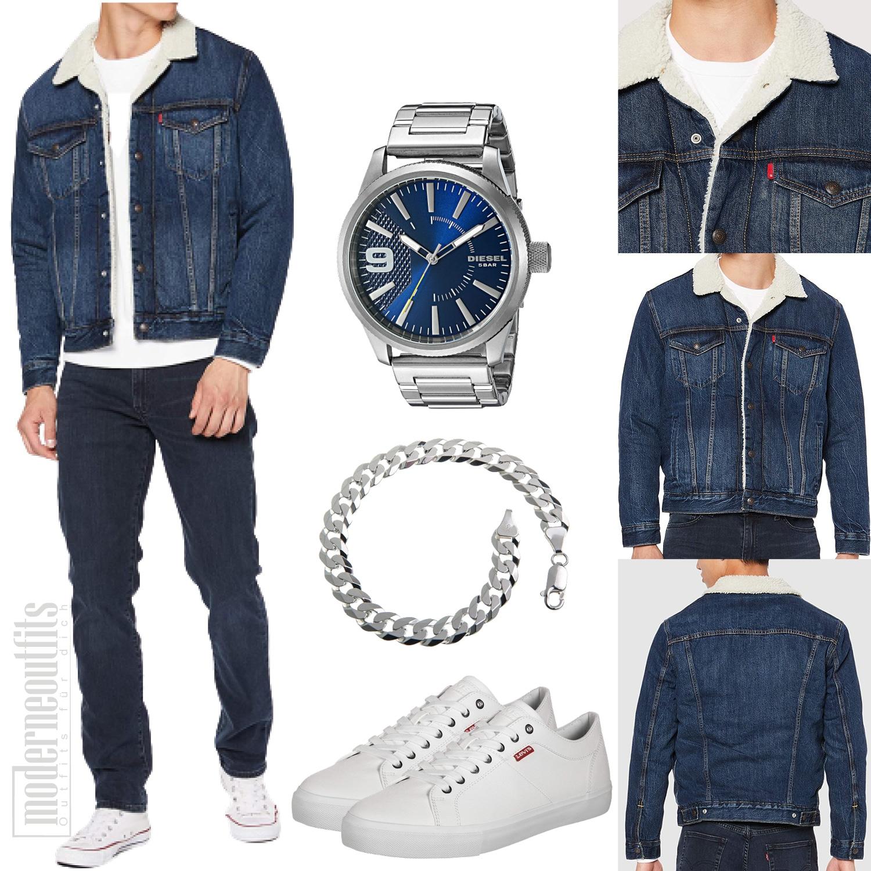 Jeans-Herrenoutfit mit Jeansjacke, Shirt und Sneaker