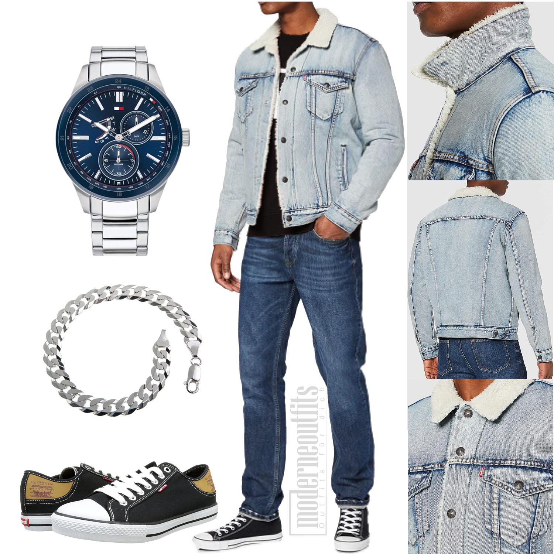 Blaues Jeans-Outfit für den Mann mit Sneaker