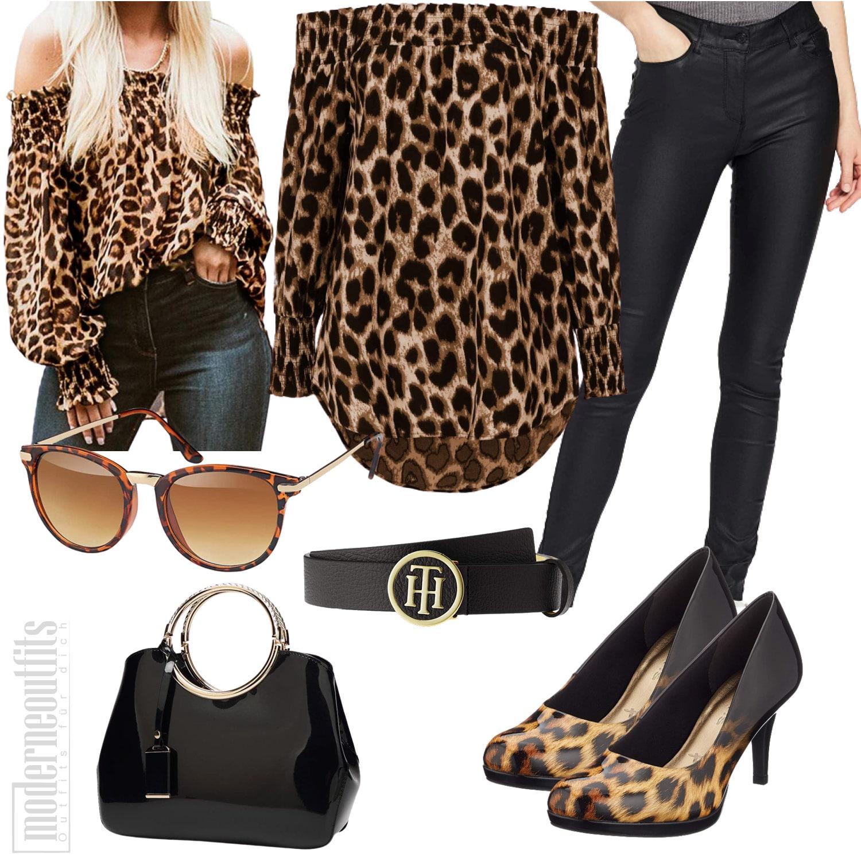 Leopardenoutfit für Frauen mit Bluse, Lederhose und Leoparden Pumps