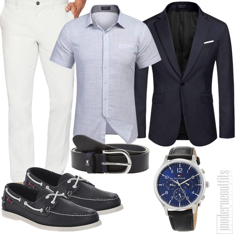 Männeroutfit in Navy-Blau mit Sakko, Hemd und Hose