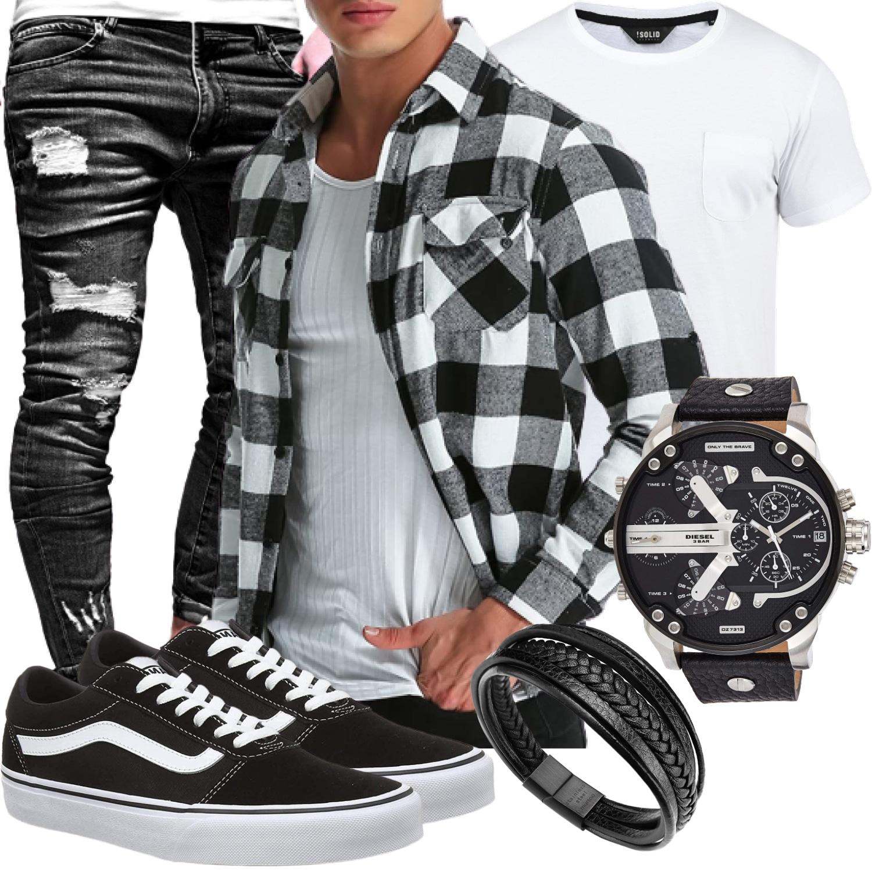 Lässiges Männeroutfit Schwarz-Weiß mit Holzfällerhemd und Jeans