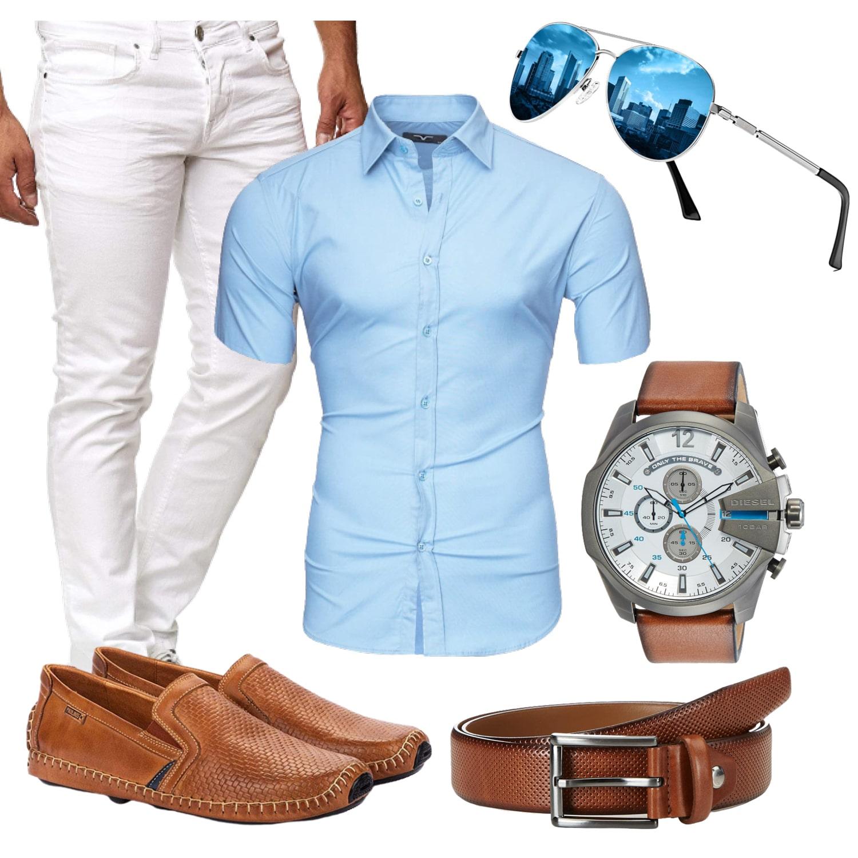 Hellblaues Sommer Herren Outfit mit Hemd und Hose