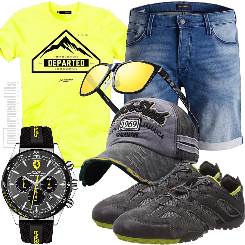 Freizeitoutfit Herren für Sommer mit Shorts Gelb Grau
