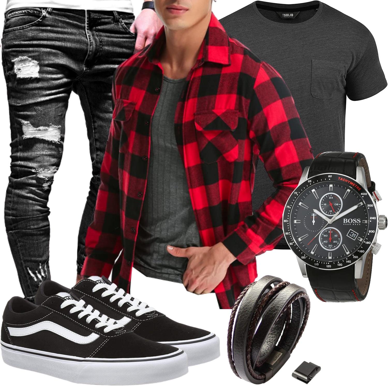 Outfit für Herren mit Holzfällerhemd, Shirt, Jeans und Vans