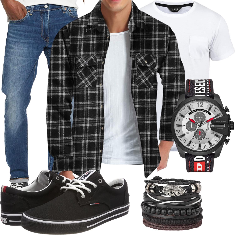 Outfit für den Mann mit Flanellhemd schwarz kariert