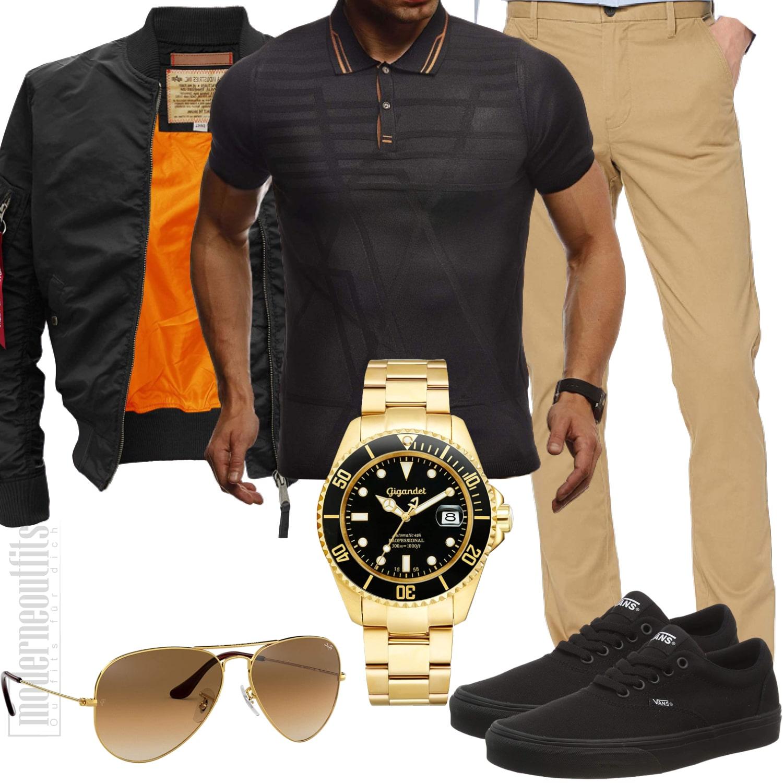 Beige Schwarzes Outfit für den Mann mit Bomberjacke und Sonnenbrille