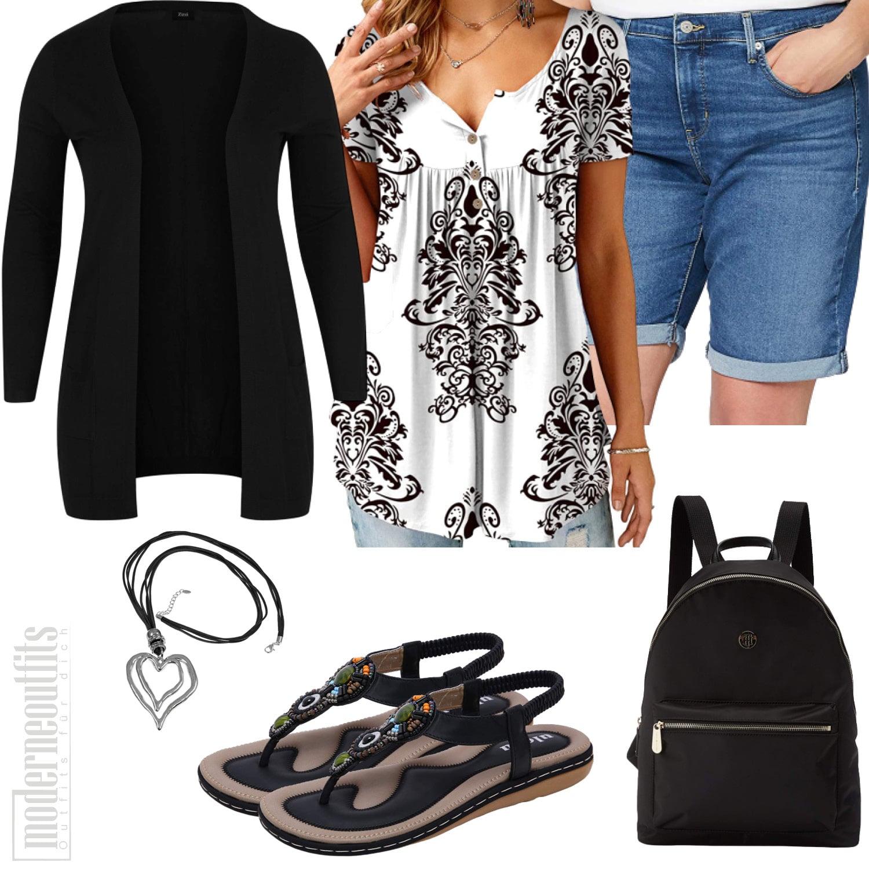 Plus Size Frauenoutfit mit Shorts, Cardigan und Tunika